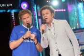 NEW YORK - JULY 22:  (U.S. TABS OUT) Actors Will Ferrell (L) and John C. Reilly sing karaoke onstage during MTV's Total Request Live at the MTV Times Square Studios July 22, 2008 in New York City.  (Photo by Scott Gries/Getty Images)